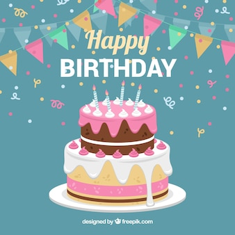 Birthday cake background with garland