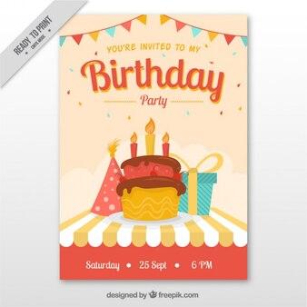 Birthday cake invitation with gift