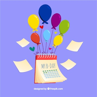 Birthday calendar with balloons