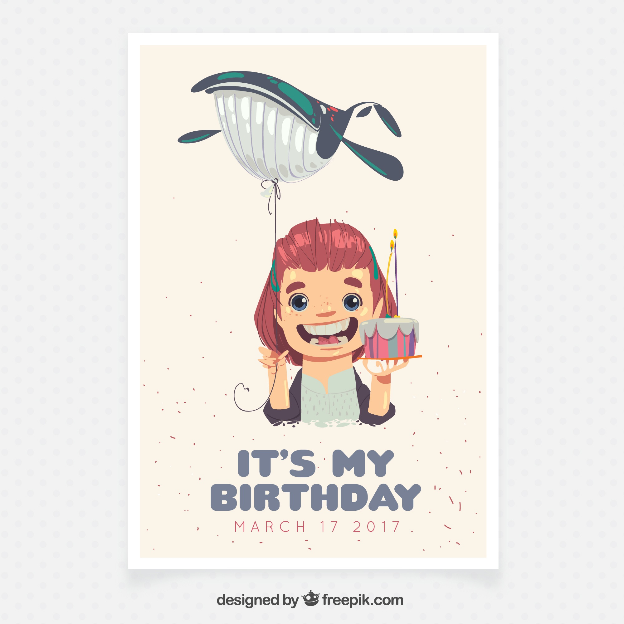 Birthday card for little girl with a whale balloon