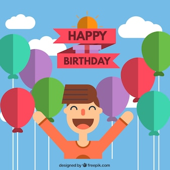 Birthday card in icon style
