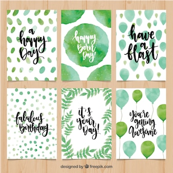 Birthday card pack with abstract watercolor shapes and balloons