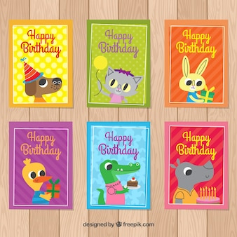 Birthday card pack with cute animals