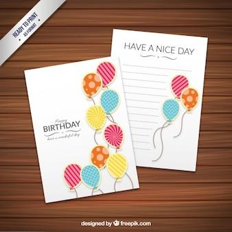 派手なバルーンで誕生日カードテンプレート