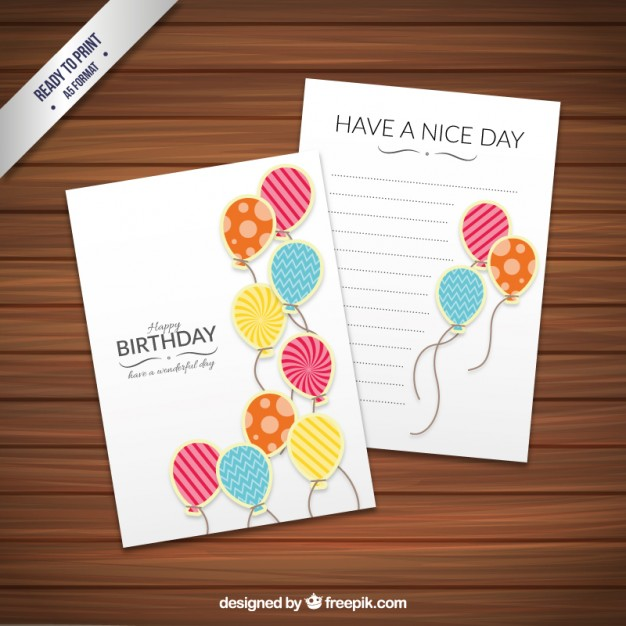 Birthday card template with fancy balloons