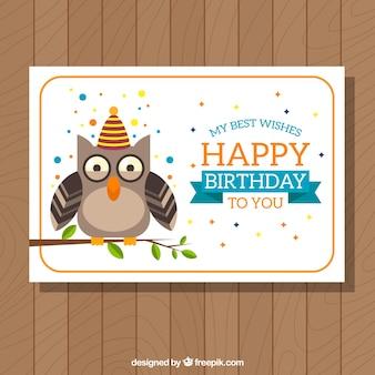 フクロウと誕生日カードテンプレート