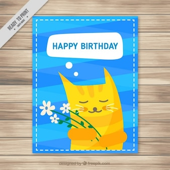 Birthday card with a cute cat
