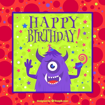 Birthday card with a cute monster