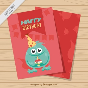Birthday card with a lovely monster