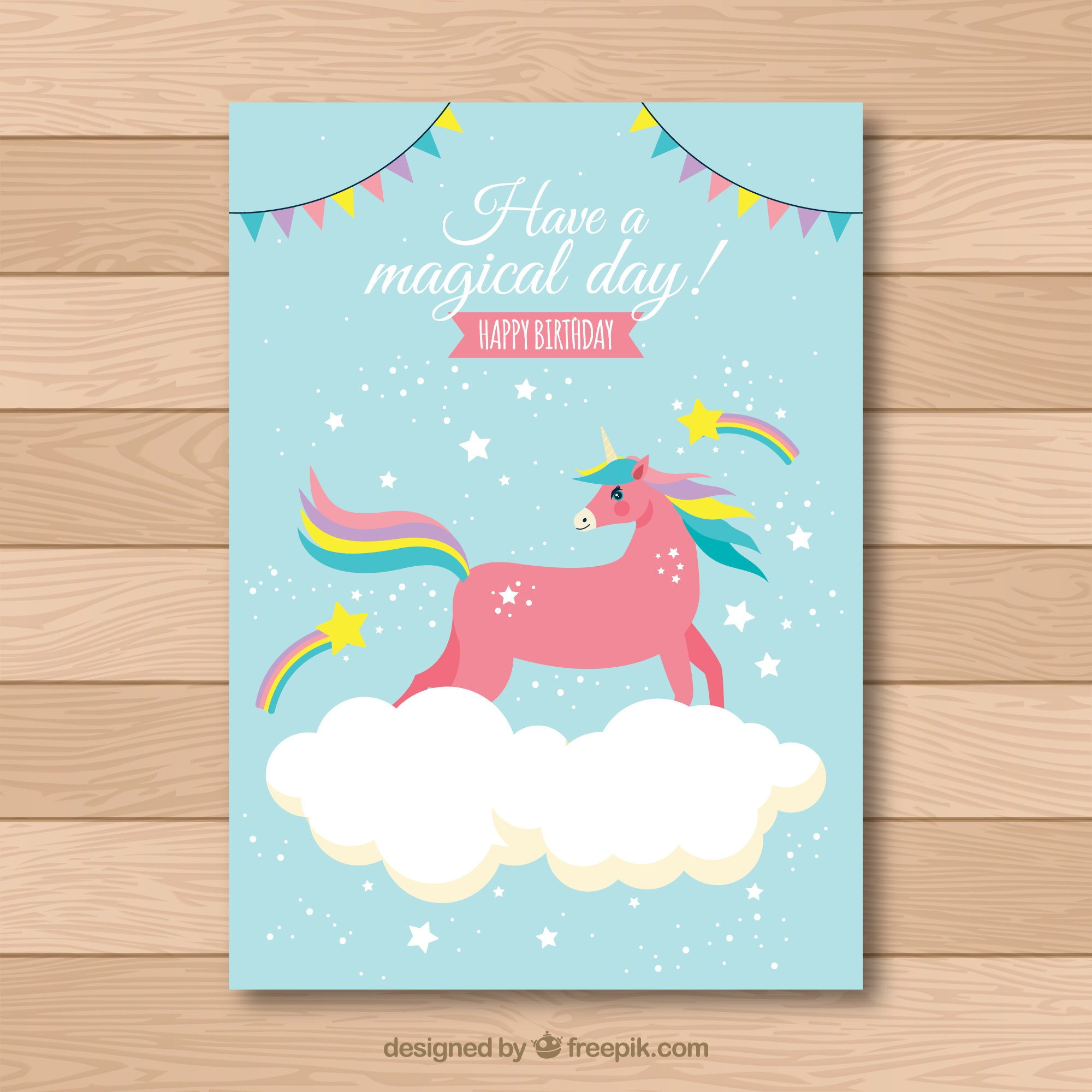 Birthday card with a red unicorn