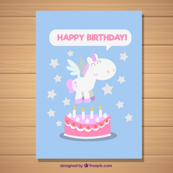 Birthday card with a unicorn and stars
