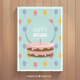 Birthday card with cake and balloons