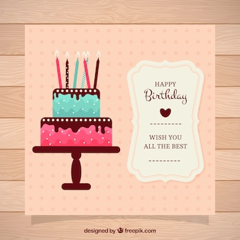 Birthday card with cake and candles in vintage style