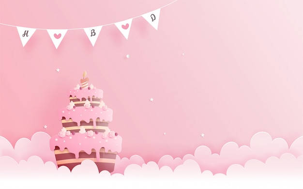 Birthday card with cake in paper cut style. vector illustration