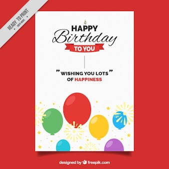 Birthday card with colorful balloons and cute message