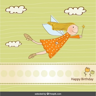 Birthday card with cute fairy