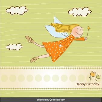 Birthday card with cute fairy