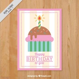 Birthday card with flat cupcake