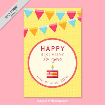 Birthday card with garlands in flat design