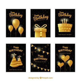 Birthday card with golden elements