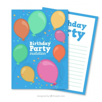 Birthday card with hand drawn colored balloons