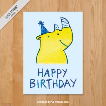 Birthday card with hand drawn rhinoceros