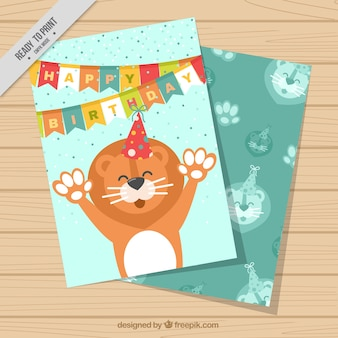 Birthday card with happy lion