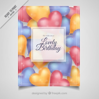 Birthday card with heart shapes balloons