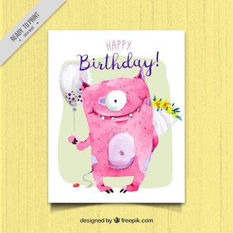 Birthday card with lovely monster