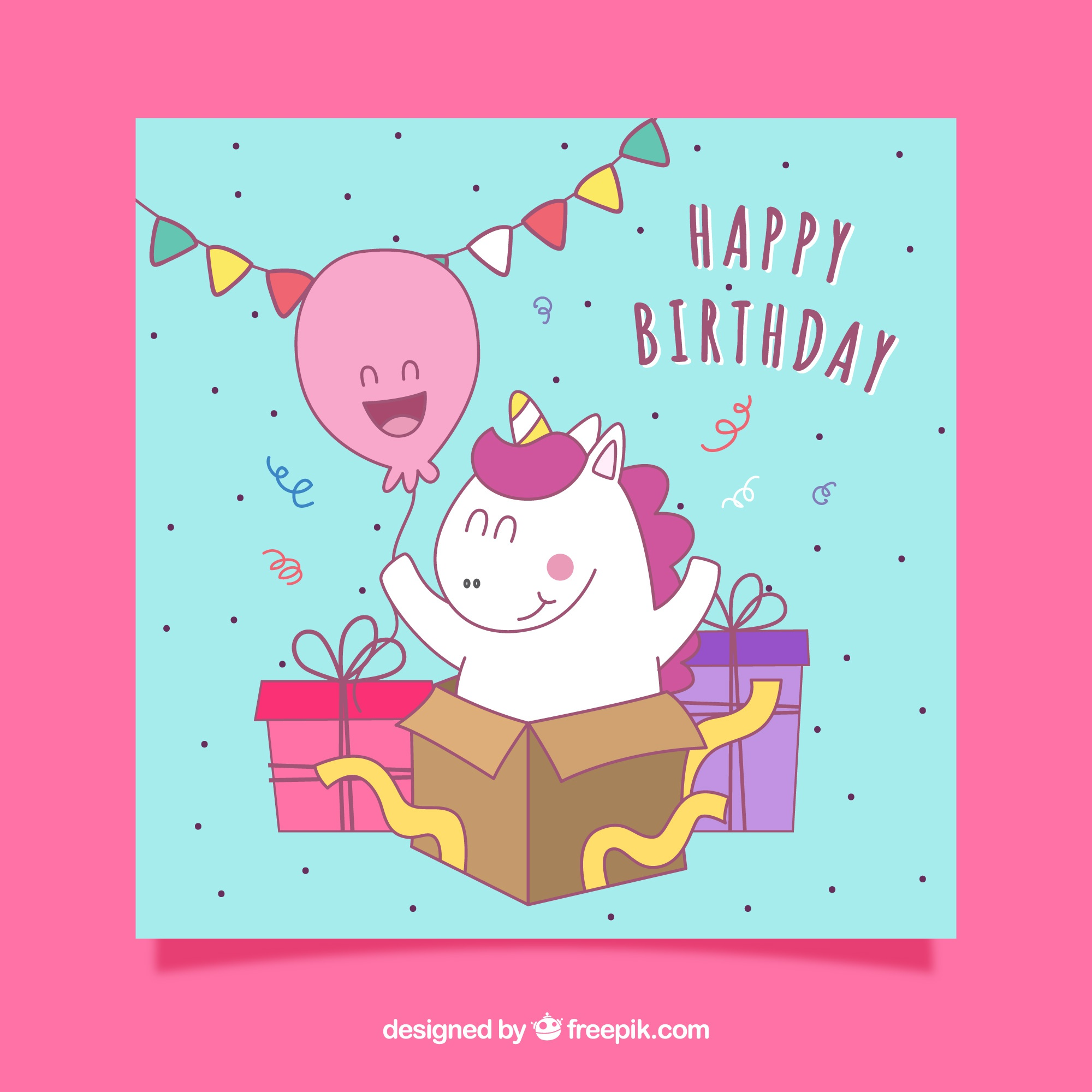 Birthday card with stripes and a funny hand-drawn unicorn