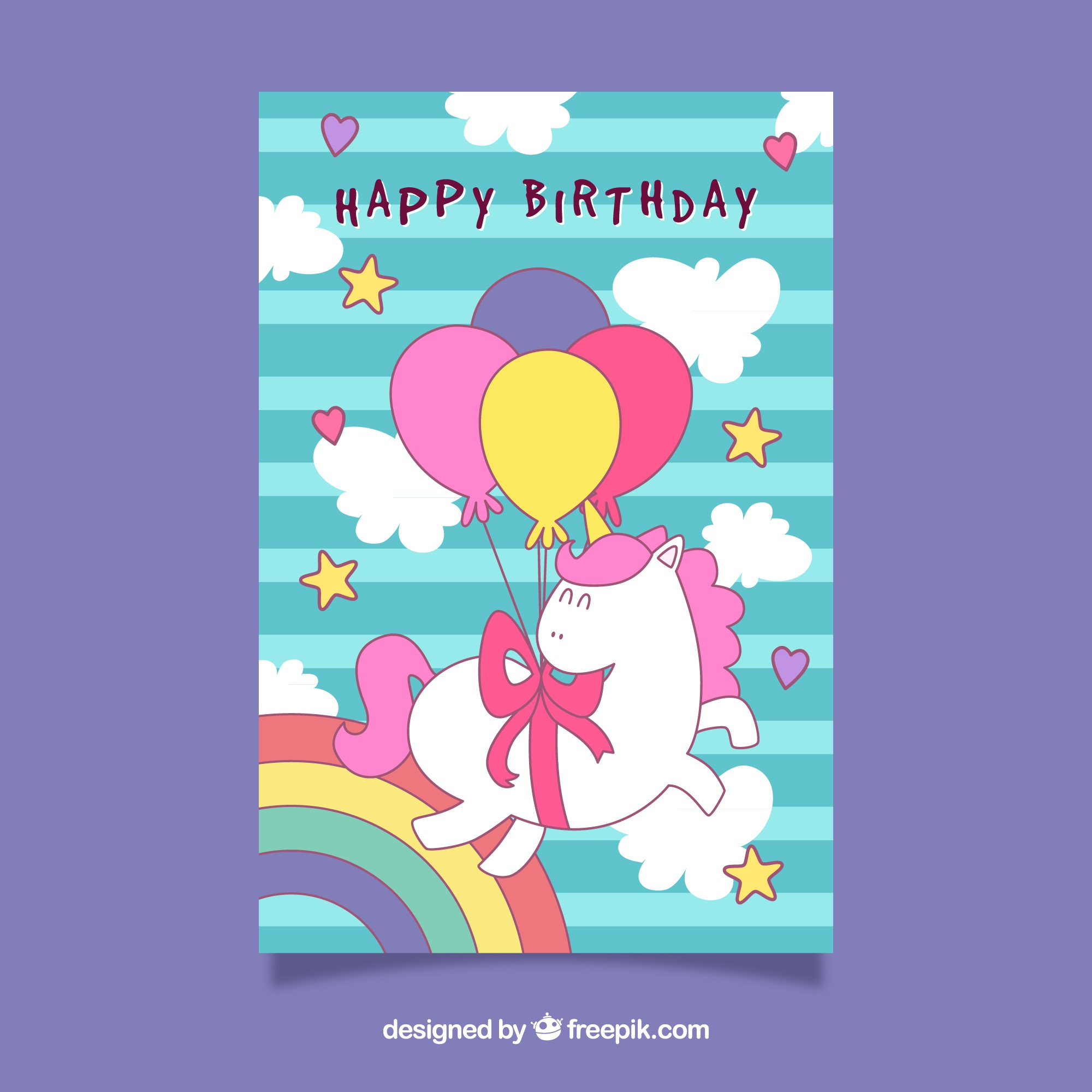 Birthday card with stripes and a funny unicorn