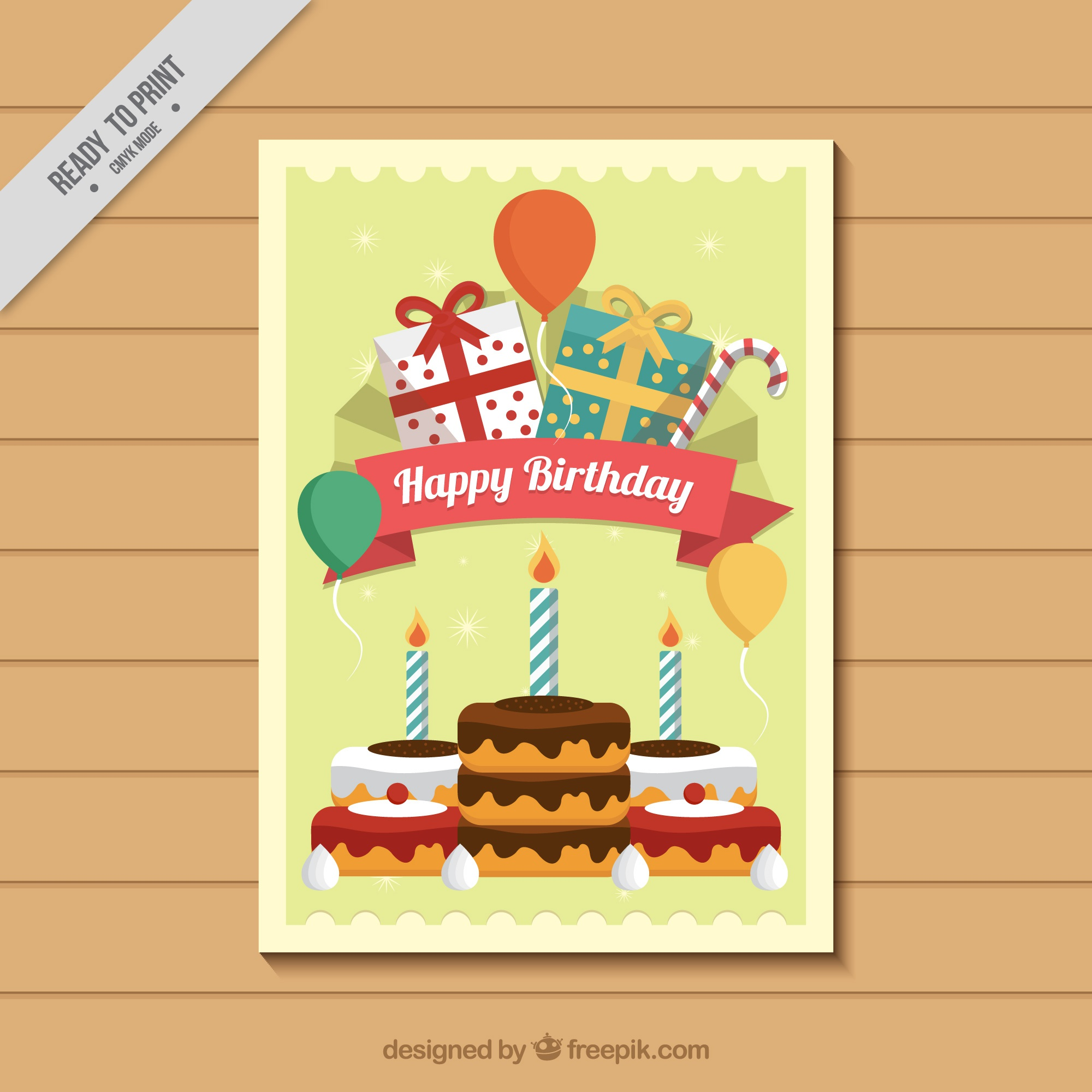 Birthday card with sweets and gifts