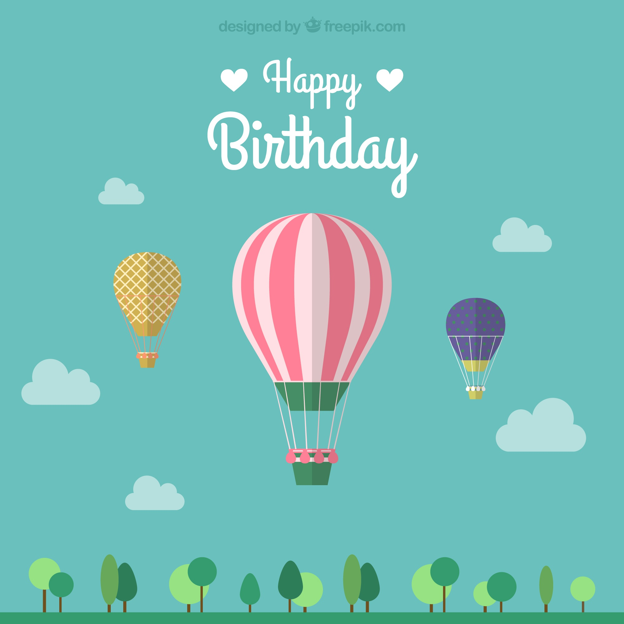 Birthday card with three hot air balloons