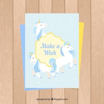 Birthday card with three unicorns