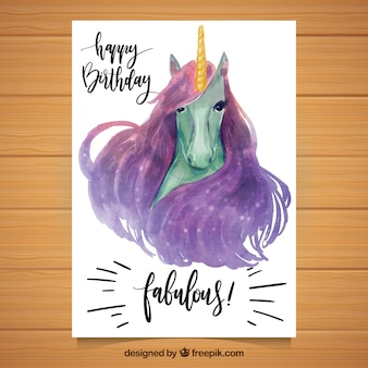 Birthday card with watercolor unicorn
