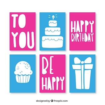 Birthday cards, blue and magenta