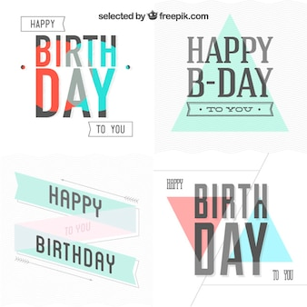 Birthday cards collection in hipster style