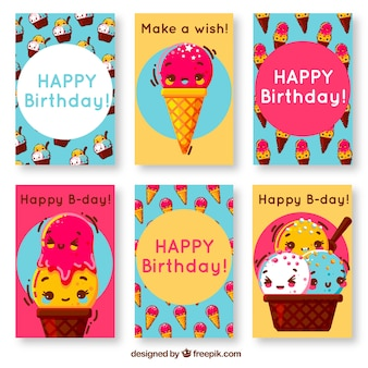 Birthday cards with ice cream