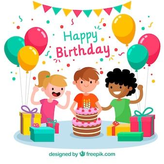 子供たちと誕生日お祝いの背景