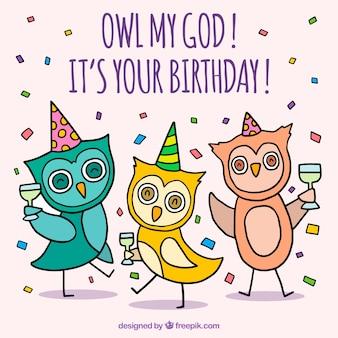 Birthday celebration background with owls