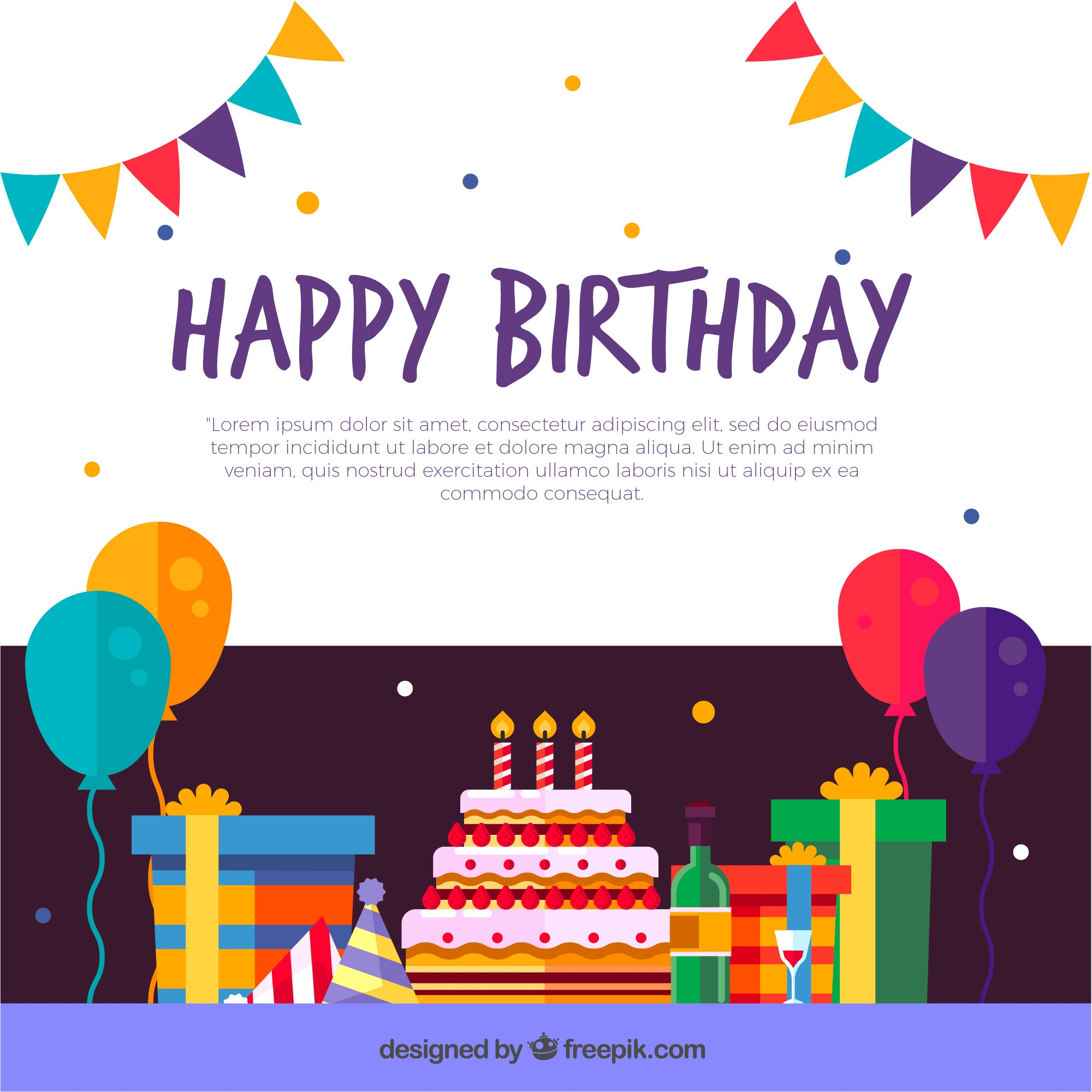 Birthday decoration background in flat design