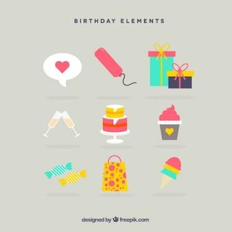 Birthday flat elements