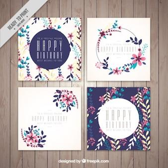 誕生日グリーティングカード、花のテーマ