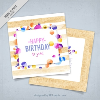 Birthday greeting card in watercolor style
