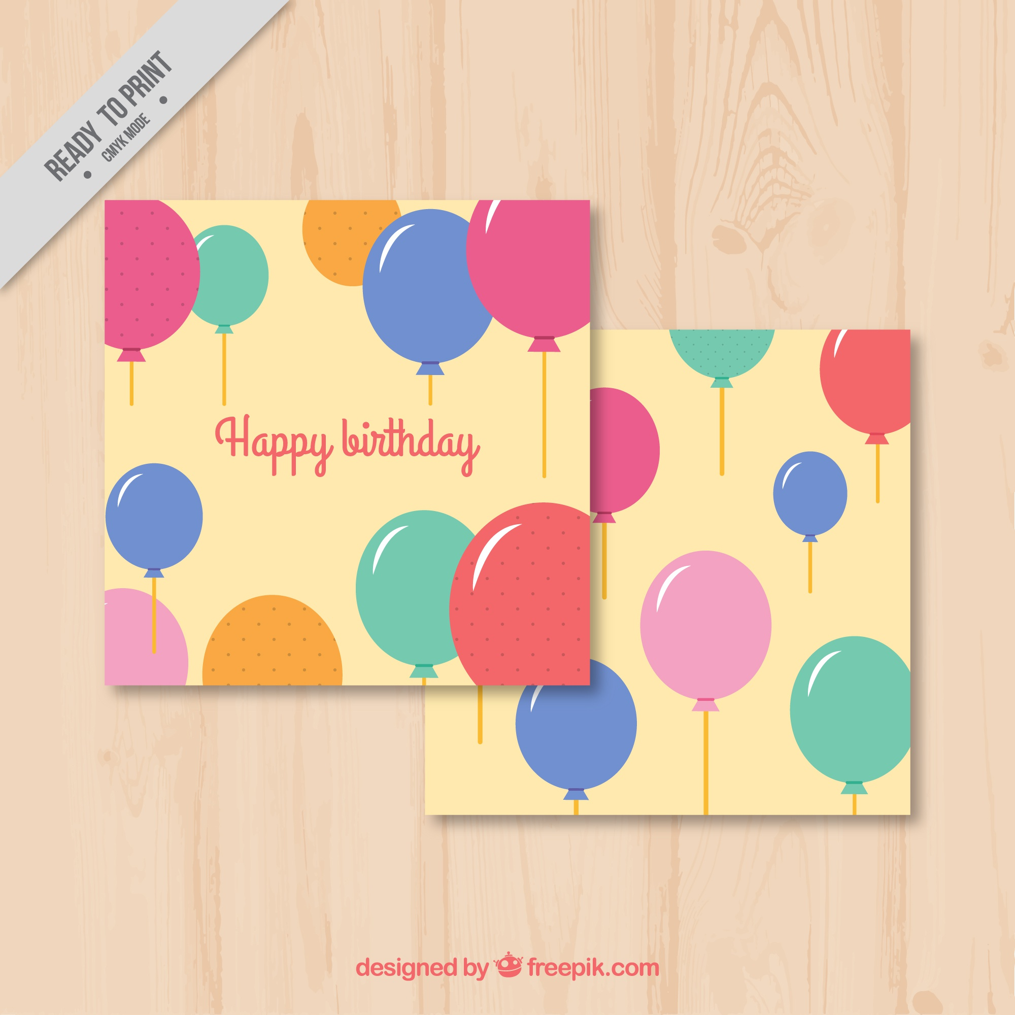 Birthday greeting card of balloons with different colors