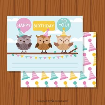 フクロウとの誕生日グリーティングカード