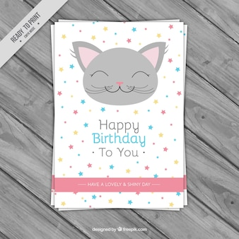 Birthday greeting card with smiling cat
