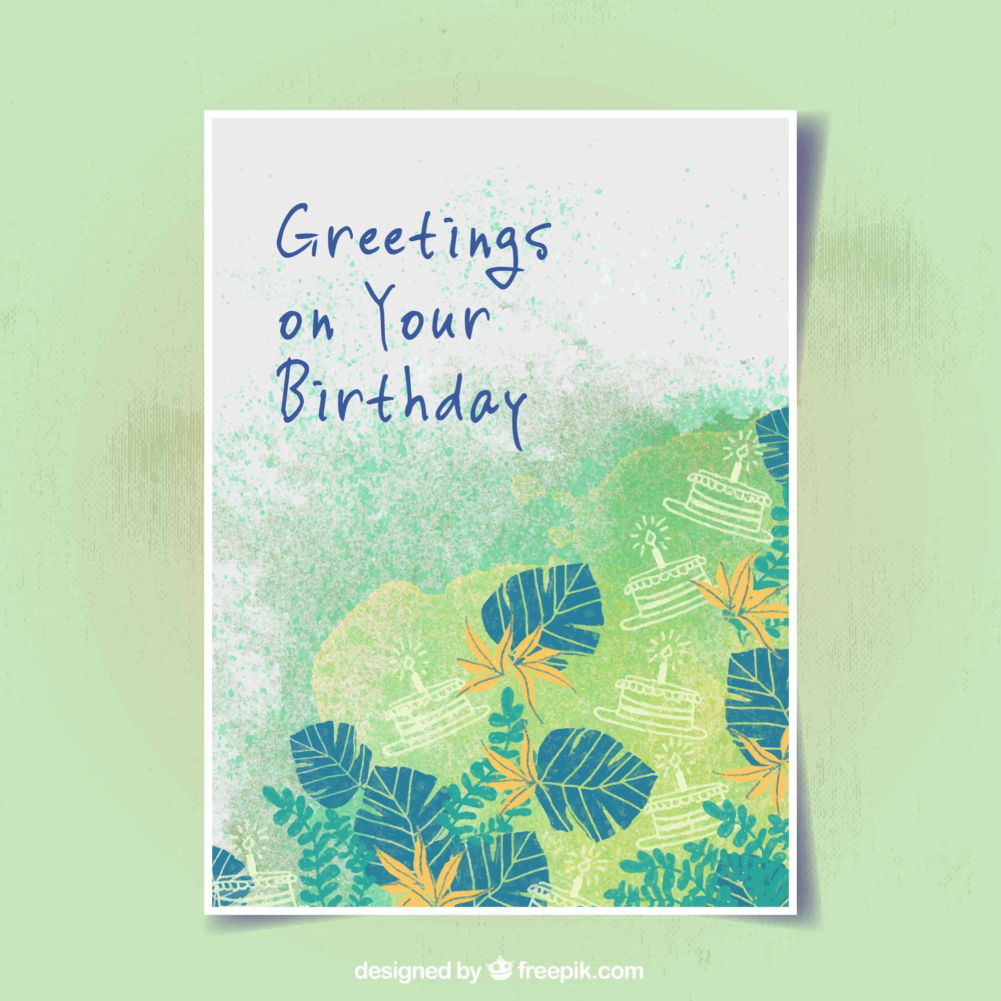 Birthday greeting card with vegetation