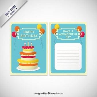 Birthday invitation card template with cake