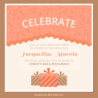 Birthday invitation card with gift boxes
